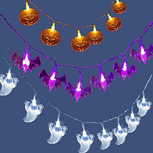 Halloween Lichterkette, 3m 20led KüRbis, Geist & Fledermaus Halloween Lichter, Halloween Dekoration Beleuchtung Batteriebetriebene Halloween Lampe für Deko Outdoor Indoor (Batterie nicht enthalten)
