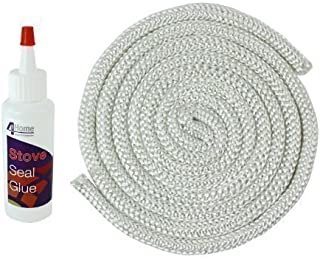 First4Spares Stove Rope Door Seal & 100Ml Adhesive For Log / Multifuel / Wood Burners Rope Thickness: 14Mm