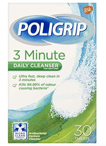 Poligrip Limpiador diario de 3 minutos, paquete de 30