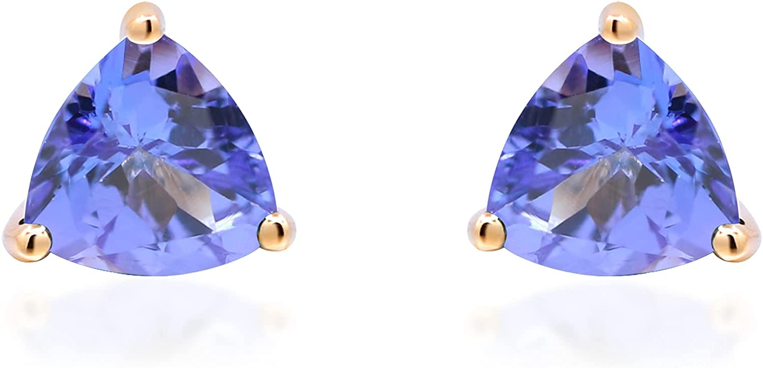 Gin & Grace 14K Yellow Gold Stud Earring with Genuine Tanzanite Daily Work Wear Jewelry for Women Gifts for Her