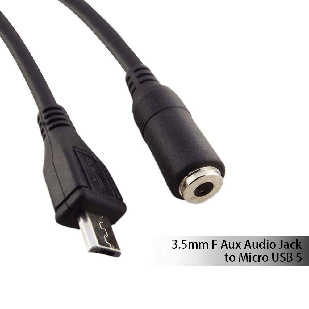 BlastCase Sync 3.5mm F Aux Audio Jack to Micro USB 5 Pin Male Converter Audio Cable Char