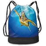 DPASIi Eretmochelys Imbricata - Mochilas con cordón ajustable para natación en aguas azules, rayos de sol oceánico, vida silvestre, cierre de cuerda ajustable