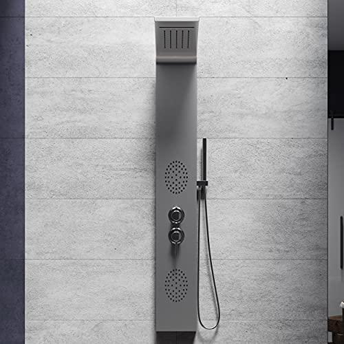 Colonna doccia idromassaggio 4 funzioni, soffione, cascata, getti idromassaggio e doccetta (ACCIAIO)