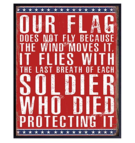 American Flag Patriotic Military Home Decor, Room Decoration Wall Art - Gift for US Veteran, Soldier, Marine, USMC, Army, Air Force, Navy, Coast Guard, Vet, Men, Women - Unframed Poster Sign Plaque