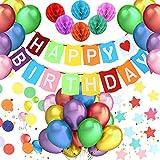 Mujeres y Adultos Decoraciones Fiesta de Cumplea/ños con Happy Birthday Bandera 12 Globos 8 Pompon de Papel para Chicas Gyvazla Globos Cumplea/ños 12 Pancarta Triangular