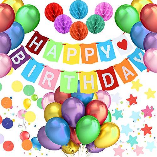 PushingBest Geburtstagsdeko, Mehrfarbig Geburtstag Party Deko Set, 1 Papier Happy Birthday Dekoration Spruchband mit 30 Stück Latex Ballons, 6 Papier Waben Laternen und...