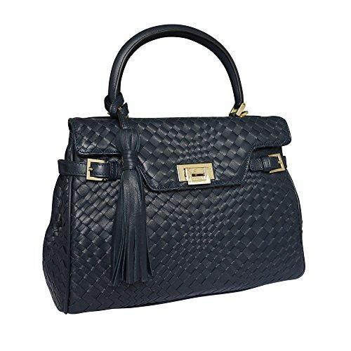 Fontanelli Lisetta Damen Designer geflochtenem Leder Grab Handtasche Schultertasche - blau
