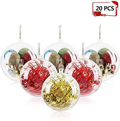 Mbuynow 20Pcs Bolas Transparentes para Adornos para Árbol de Navidad, Manualidades, Bolas rellenables Bolas, Transparente, 8CM