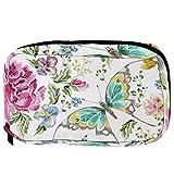 Bolsas cosméticas bordadas mariposa en rosas violetas selva práctica bolsa de viaje Oragniser bolsa de maquillaje para mujeres niñas