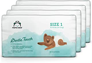 Amazon Brand - Mama Bear Gentle Touch Diapers, Size 1, Assorted Print, 196 Count (4 packs of 49)