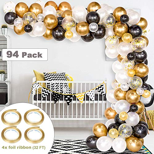 Sunshine smile Ballons schwarz Gold,Latex Luftballons schwarz Gold weiß,konfetti Luftballons Gold,Luftballons für Geburtstag Hochzeit Party Dekoration 90 Stück