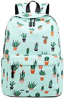 SODIAL Waterproof Fairy Ball Plant Printing Backpack Women Cactus Bookbag Cute School Bag for Teenage Girls Kawaii Pink Green Knapsack Green