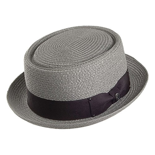 Jaxon & James Chapeau Pork Pie en Paille Toyo Braided Gris Large