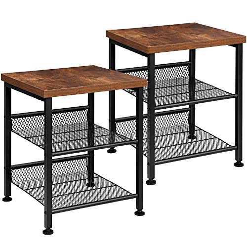 TomCare 2 Pack End Table Nightstands 3 Tier Side Tables Set Night Stands with Metal Mesh Storage Shelves Industrial Night Tables with Metal Frame Solid Wood Small Tables for Living Room Bedroom