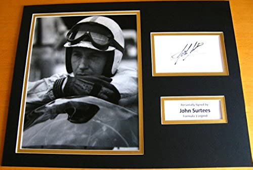 Sportagraphs JOHN SURTEES HAND SIGNED AUTOGRAPH 16x12 PHOTO MOUNT DISPLAY FORMULA 1 & COA