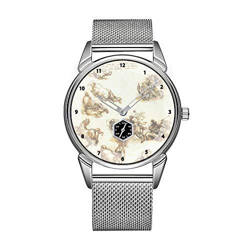 Mode Herrenuhr silbernen Edelstahl wasserdicht Uhr Herren Top-Marke Herrenuhr Uhr Arbeitsblatt mit Pferden - Leonardo da Vinci Uhr