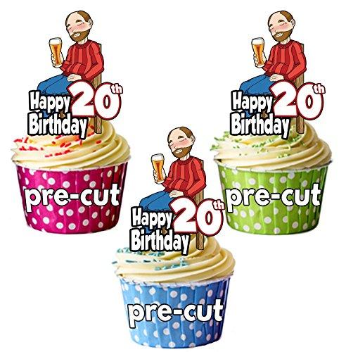 PRECUT- Bebedero de cerveza para hombre, 20 cumpleaños, comestible, decoración para cupcakes (paquete de 12)