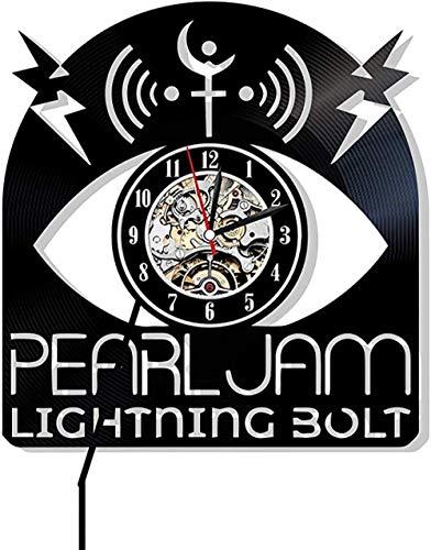 Pearl Jam - Orologio da Parete in Vinile con Design Musicale, Perfetto Come Regalo per Uomo o Ragazzo, Decorazione per Soggiorno, caffetteria, Club Band Store Day Seattle con LED Senza LED.