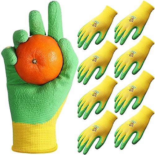 4 Pairs Kids Gardening Gloves for Yard and Garden Work, Children Latex Garden Gloves for Boys, Toddler, Girls, Ideal for Kids Gardening, DIY and Outdoor Activities (L, Age 11-15)
