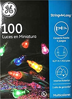 GE 100 Count Multi-Color Miniature Lights - Lighted Length 20.6 FT (6.27 m) - Green Wire - Indoor/Outdoor - 1 Pack