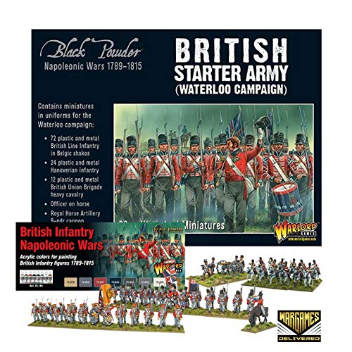 Bolt Action - Warlord Games Napoleonic British Starter Army Waterloo Campaign and British Paint Set Military Action Figures - WW2 Model Miniatures and World War II Games by Wargames Delivered