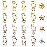 CHGCRAFT 40 Piezas Llavero con Cierres Giratorios de Aleación en Forma de Gato con Anillos de Salto de Hierro para Diseño Creativo de Bricolaje Llavero con Hebilla Colgante de Metal Color Mezclado
