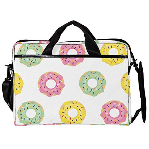 Unisex Computer Tablet Satchel Bag,Lightweight Laptop Bag,Canvas Travel Bag,13.4-14.5Inch with Buckles Pink Yellow Green Doughnut Pattern