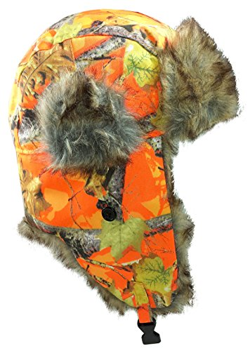 Dakota Dan Mens Ear Flap Cap w/ Faux Fur Lining (Orange Camo) , One Size