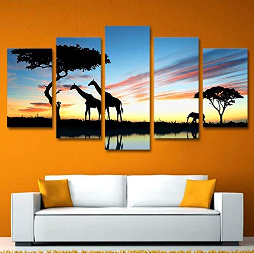 DHLZ Arte de la Pared Impreso en Lienzo Cuadro de la Pintura Cuadros 5 Piezas Animal Africano Jirafa Elefante Puesta de Sol Paisaje Poster 30 * 40 30 * 60 30 * 80Cm