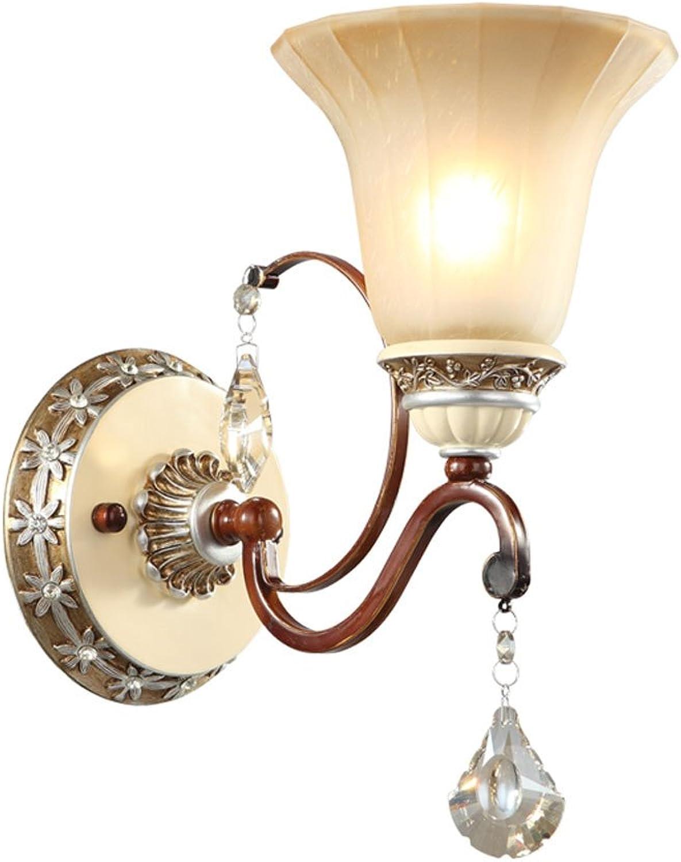 LZY Wandlampe- Retro Schmiedeeisen Wandleuchte Wohnzimmer Schlafzimmer Nachttischlampe TV Wand Kreative Crystal Staircase Gang dekorative Lichter