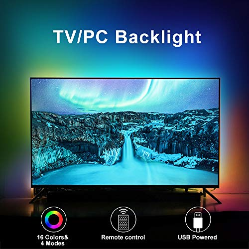 LED TV Backlights, 6.6Ft RGB TV Strip Lights kit with Remote, USB Powered Bias Lighting for 40 Inch-75 Inch TV, PC Monitor and Home Theatre