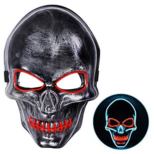 Joyjoz Halloween Maschera LED Mask per Costume Cosplay Feste di Carnevale, Halloween Maschere Si Illuminano al Buio