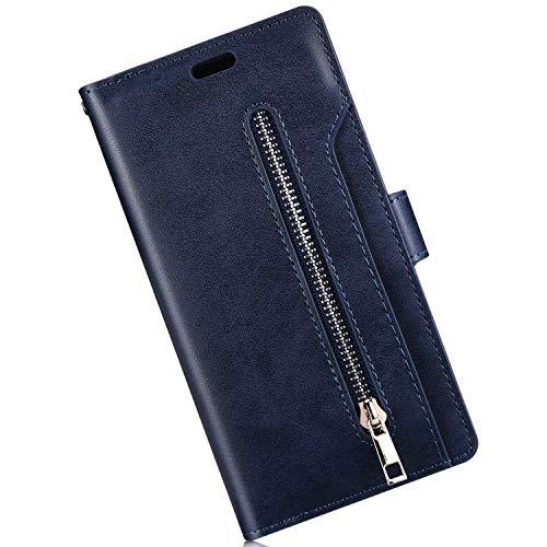 Qjuegad Coque Compatible avec iPhone 5S/Se, PU Cuir avec Fermeture éclair, Magnétique Etui avec Porte-Cartes Flip Wallet Case avec Fonction Stand, Bleu Marin