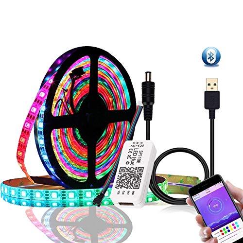 DC5V 2m 3M 5M 10M WS2812B 5050 bluetooth USB app kontroll RGB individuellt adresserbar LED remsa ljussats (färg: Vattentät, storlek: 3M)
