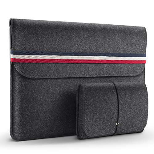 Laptop Sleeve, HOMIEE 13-13.3 Inch Protective Felt Laptop Bag with Extra Storage Case and Mouse Pad for MacBook Air/iPad Pro/Dell/Lenovo/HP/Chromebook (Dark Gray)