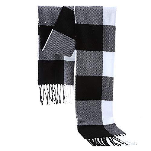 Men's Plaid Scarf Soft Winter Scarves - Gentleman Cashmere Feel Luxurious Scarf,Color04