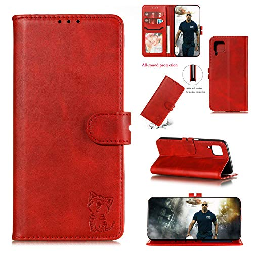 Galaxy A12 5G Funda para Samsung A12 5G, funda tipo cartera, funda de PU antiarañazos, funda protectora antigolpes, carcasa suave (rojo)