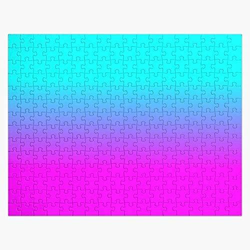ZPTECH Familien-Puzzle für Erwachsene Puzzles 1000 Stück - Hot Pink und Neon Aqua Blue Ombre Shade Farbe Fade - Papier Puzzle Puzzle Pädagogische Puzzle Spielzeug Geschenk für Erwachsene & Kinder Hera