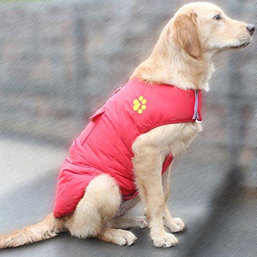 UMALL Hundemantel Winter Wasserdicht Regenjacke für Hunde Reversibel Atmungsaktiv Hundejacke Wintermantel