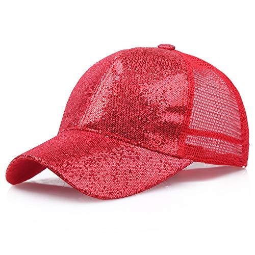 SANFASHION Damen Mädchen Mützen Baseball Cap Pferdeschwanz Baseballmütze Pailletten Unisex Baseballcap Reine Farbe Kappe (L, Rot)