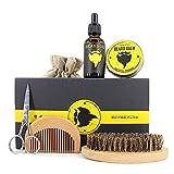 Beard Care Kit for Men Beard Growth Grooming & Trimming with Beard Brush, Beard Comb, Free Beard Conditioner, Beard Balm Butter, Mustache Scissors