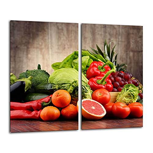 Gsmarkt   Herdabdeckplatte Schneidebrett Spritzschutz Set 2x30x52   Bild auf Glas   Sicherheitsglas Gehärtetes Glas Bild   Motiv Früchte
