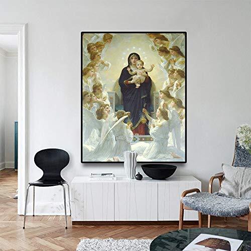 Vintage Jungfrau Maria Poster Leinwand mit Vintage Kalligraphie katholische Plakate und Drucke Weihnachten Familie Dekoration Wandbild rahmenlose Malerei 40x32cm