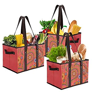 Foraineam Reusable Grocery Bags Durable Heavy Duty Grocery Totes Bag Collapsible Grocery Shopping Box Bags with Reinforced Bottom, Pack of 3