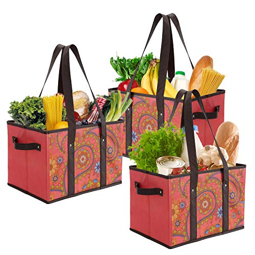 Foraineam Reusable Grocery Bags Durable Heavy Duty Grocery Totes Bag Collapsible Grocery Shopping Box Bags with Reinforced Bottom Pack of 3