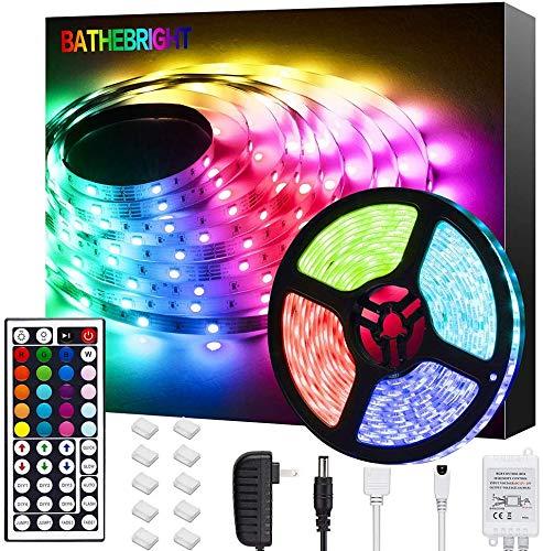 Bathebright LED Strip Lights 16.4ft 5m LED Light Strips with Remote Color Changing 5050 Flexible RGB LED Lights for Bedroom Room Kitchen Bar Home DIY Christmas Decoration, 12V Power Supply