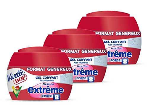 VIVELLE DOP Gel Coiffant aux Vitamines Extrême Force 8 Format Généreux 200 ml - Lot de 3