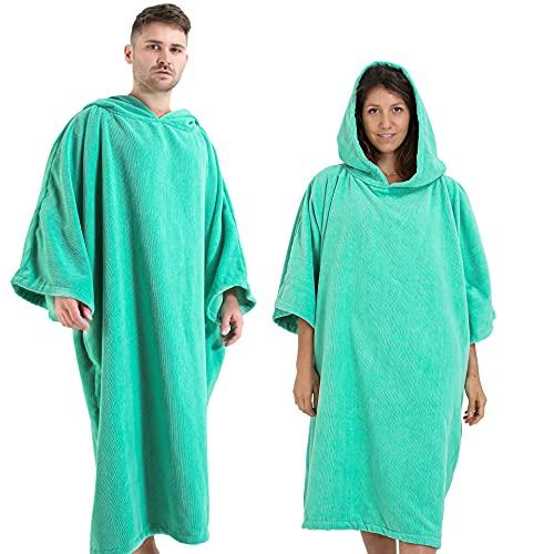 Winthome Bademantel mit Kapuze zum Umziehen am Strand/im Schwimmbad für Erwachsene Herren Damen, Badeponcho Handtuch (Grün, M)