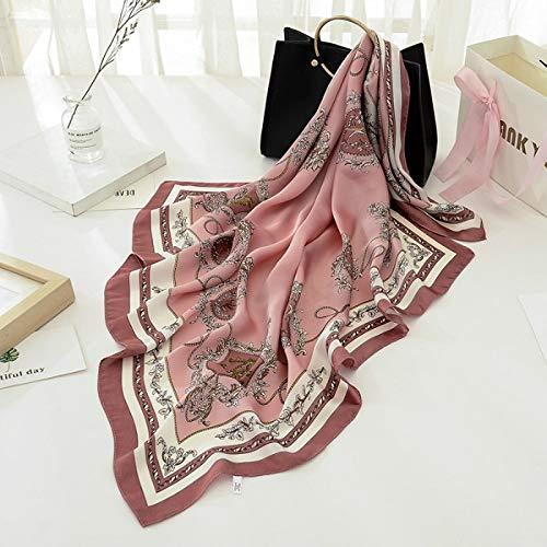 AHUIOPL Imitado Seda Bufanda de Seda Sentimiento de la Bufanda Collares de chales Imprimir Cabeza Cuadrada Bufandas 90 x 90 cm