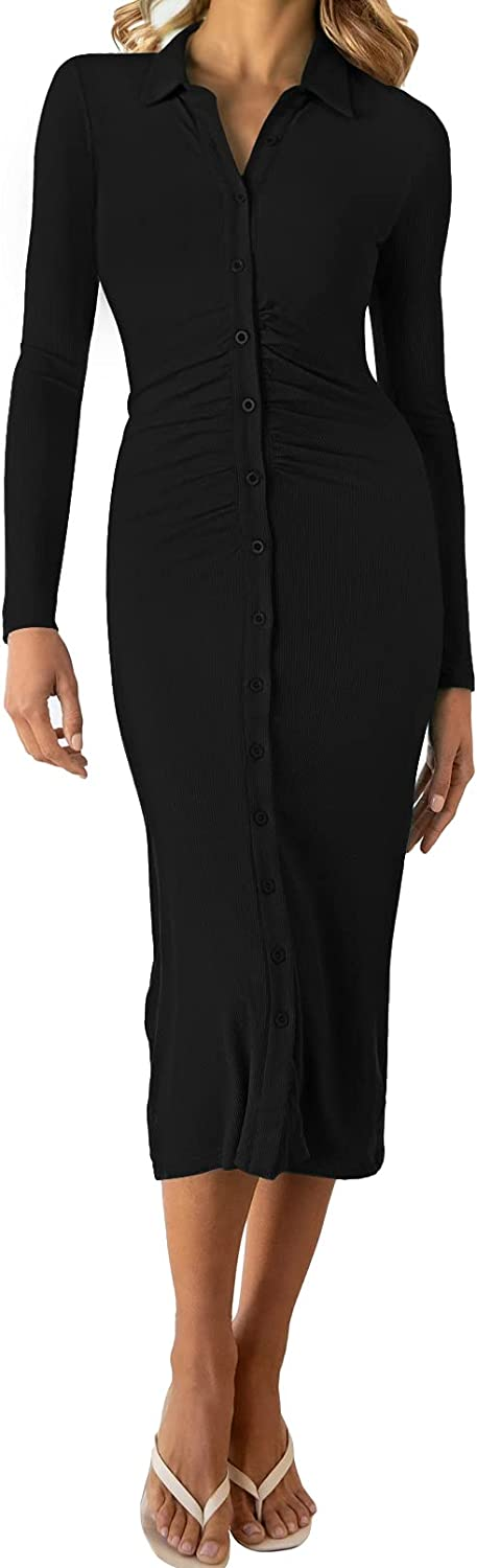 Linsery Women V Neck Ruched Knitted Bodycon Midi Dress Ribbed Button Sweater Pencil Dresses